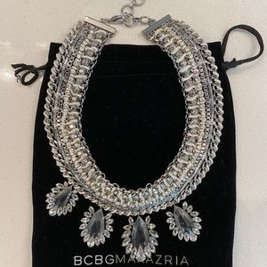 BCBG Silver and Ivory Statement Collar Necklace